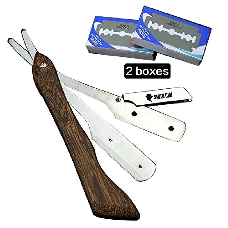 ミサイル準備した貴重なDream Real ヴィンテージ木製ハンドル 理容カミソリ 10枚入り 折りたたみナイフ クラシックサロンの理髪師ストレートスロートシェービング剃刀シェービングヘアカットツール