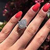 Tripmark White Gold Plated Teardrop Halo Pear Cut Cubic Zirconia CZ Engagement Wedding Ring for Women (6)