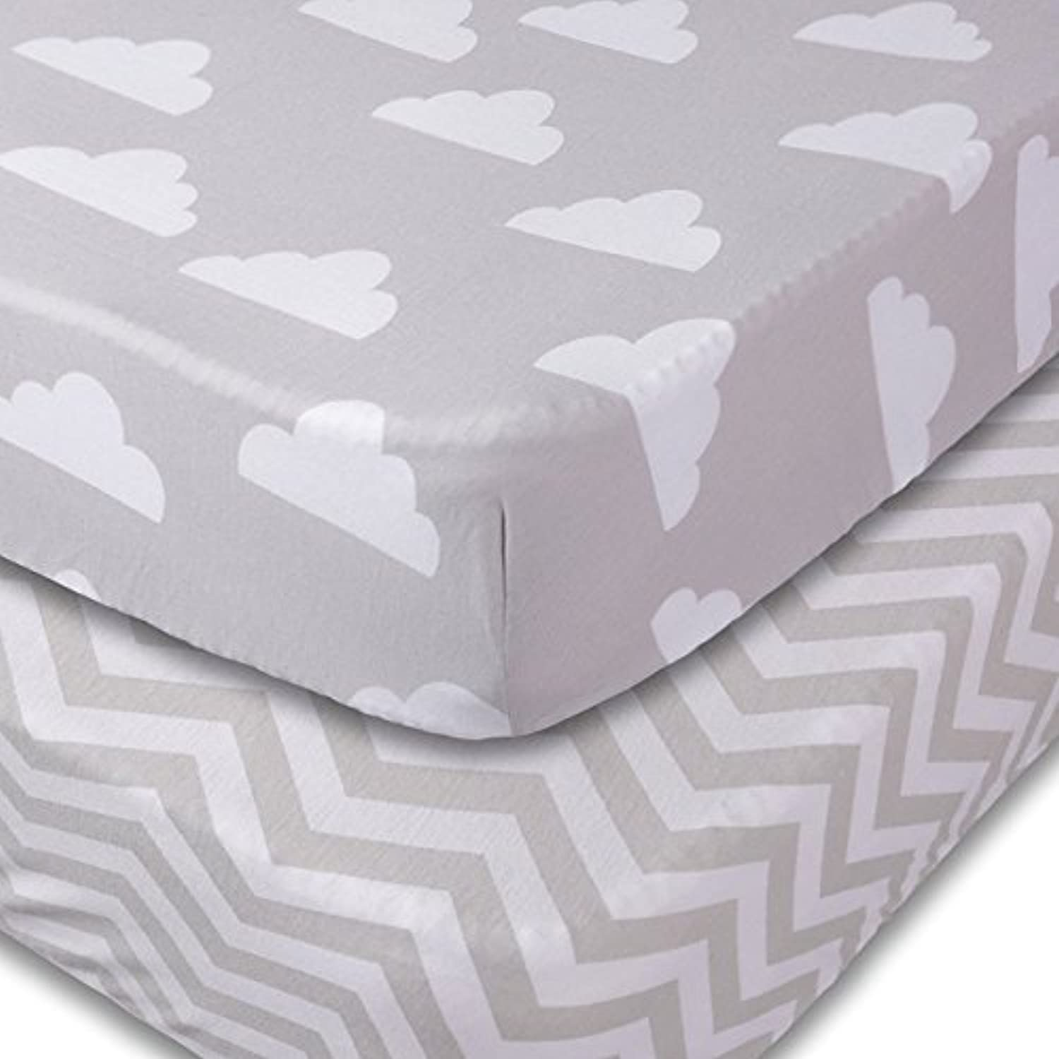 Crib Sheets 2 Pack Fitted Soft Jersey Cotton Sheet Bedding with Unisex Clouds and Chevron Custom Design Fits Standard Mattress for Babies and Toddlers [並行輸入品]
