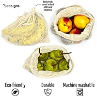 Eco Gro. - Reusable Cotton Mesh Produce Bags - Organic Cotton, Durable, Double Stitched, Washable | 7 PCE Set | Australian Owned
