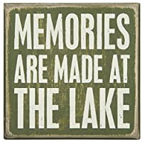 Primitives by Kathy Wood Box Sign, 4-Inch by 4-Inch, At The Lake by Primitives By Kathy
