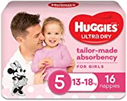 Huggies Ultra Dry Nappies, Girls, Size 5 Walker (13-18kg), 16 Count