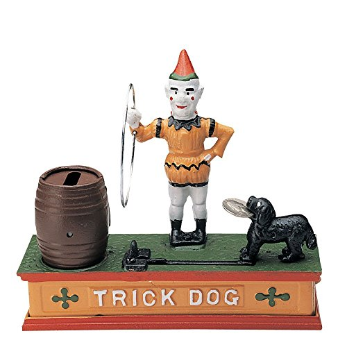 Bits and Pieces - 「There's a Trick To Saving - Collectible Cast Iron Mechanical Bank - 犬のジャンプ - 貯金箱を振り込む