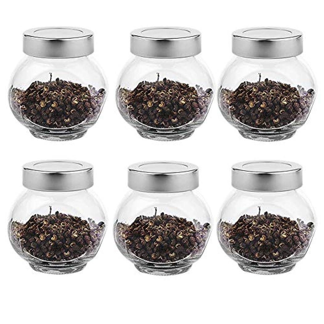 フォーマット改革カーテン6つの透明ガラス貯蔵容器茶/季節密封缶(200 ml)の貯蔵ジャーパック