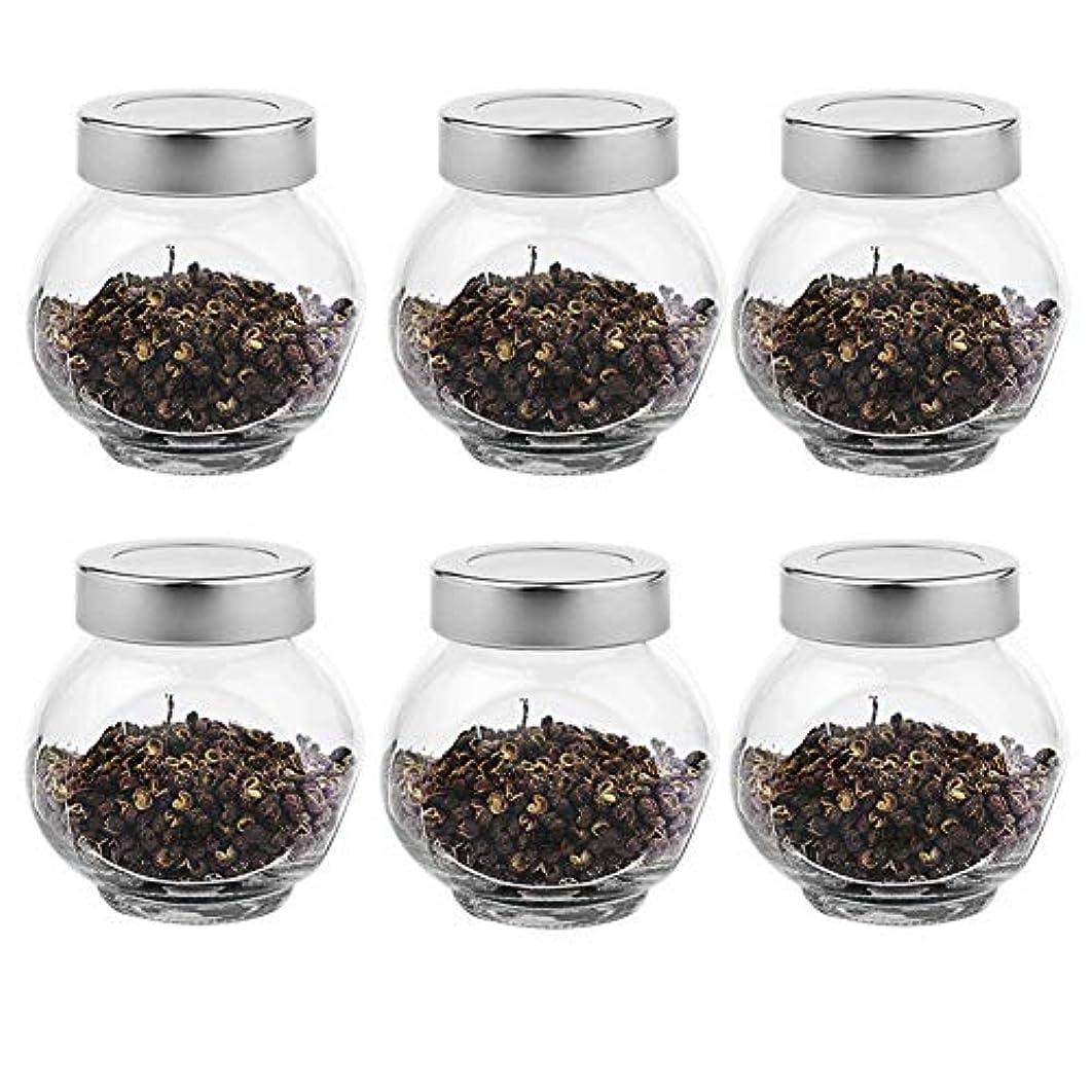 キャンセル寝具私達6つの透明ガラス貯蔵容器茶/季節密封缶(200 ml)の貯蔵ジャーパック