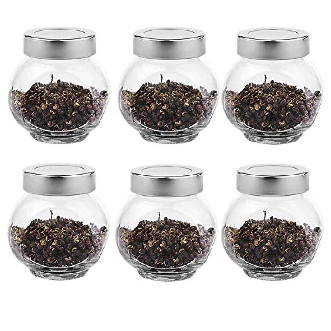 出します土人質6つの透明ガラス貯蔵容器茶/季節密封缶(200 ml)の貯蔵ジャーパック