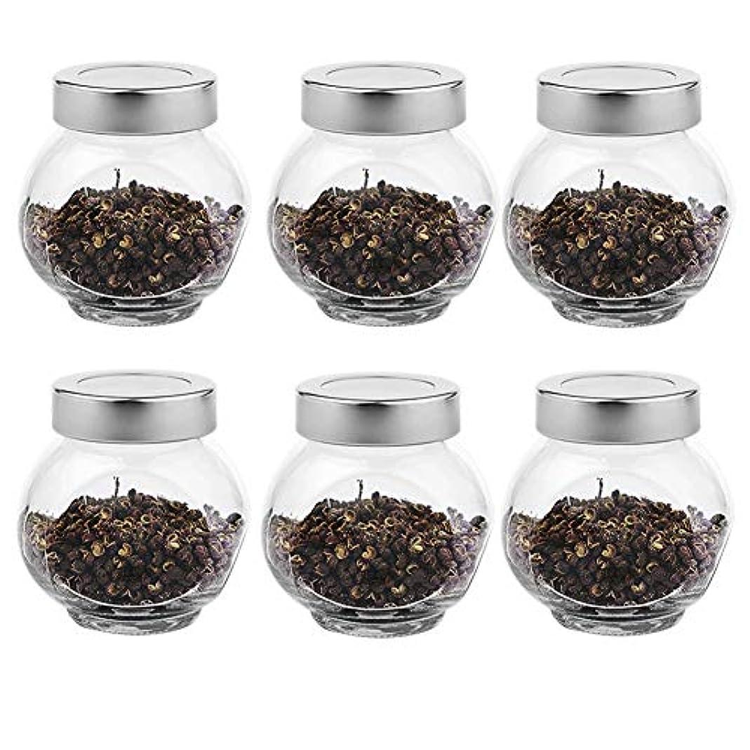 スパイラル説明的横6つの透明ガラス貯蔵容器茶/季節密封缶(200 ml)の貯蔵ジャーパック