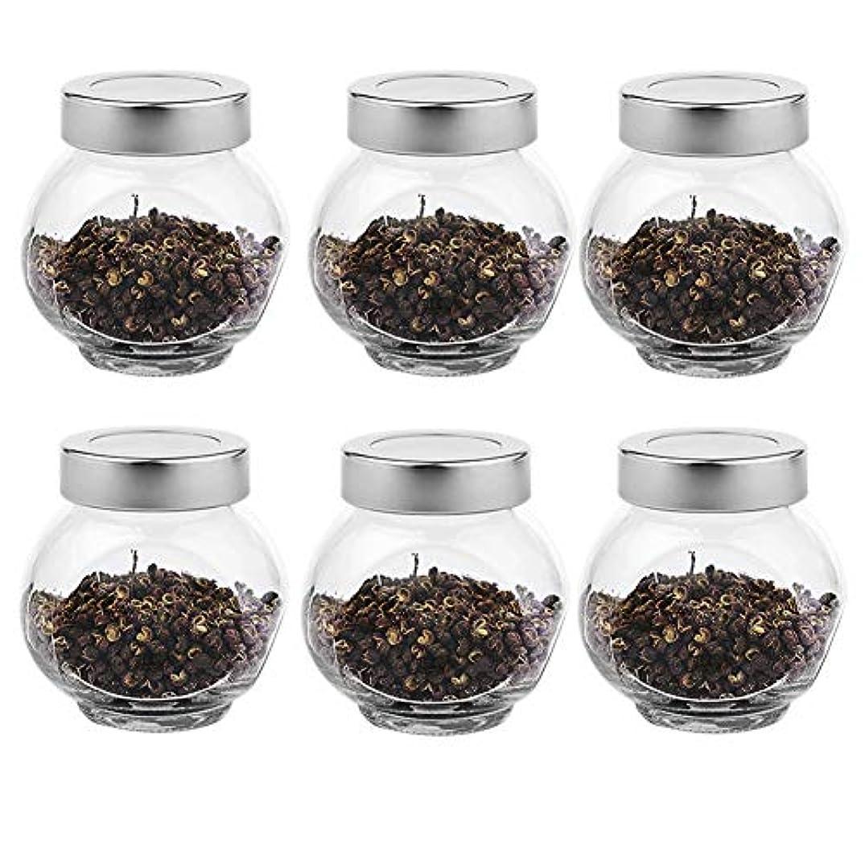 マークダウン救い拡張6つの透明ガラス貯蔵容器茶/季節密封缶(200 ml)の貯蔵ジャーパック
