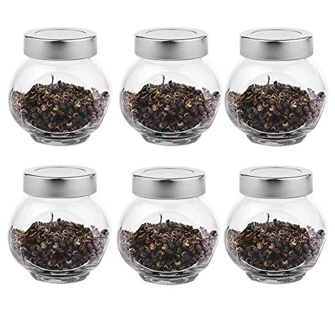 フィールド炭素アンカー6つの透明ガラス貯蔵容器茶/季節密封缶(200 ml)の貯蔵ジャーパック