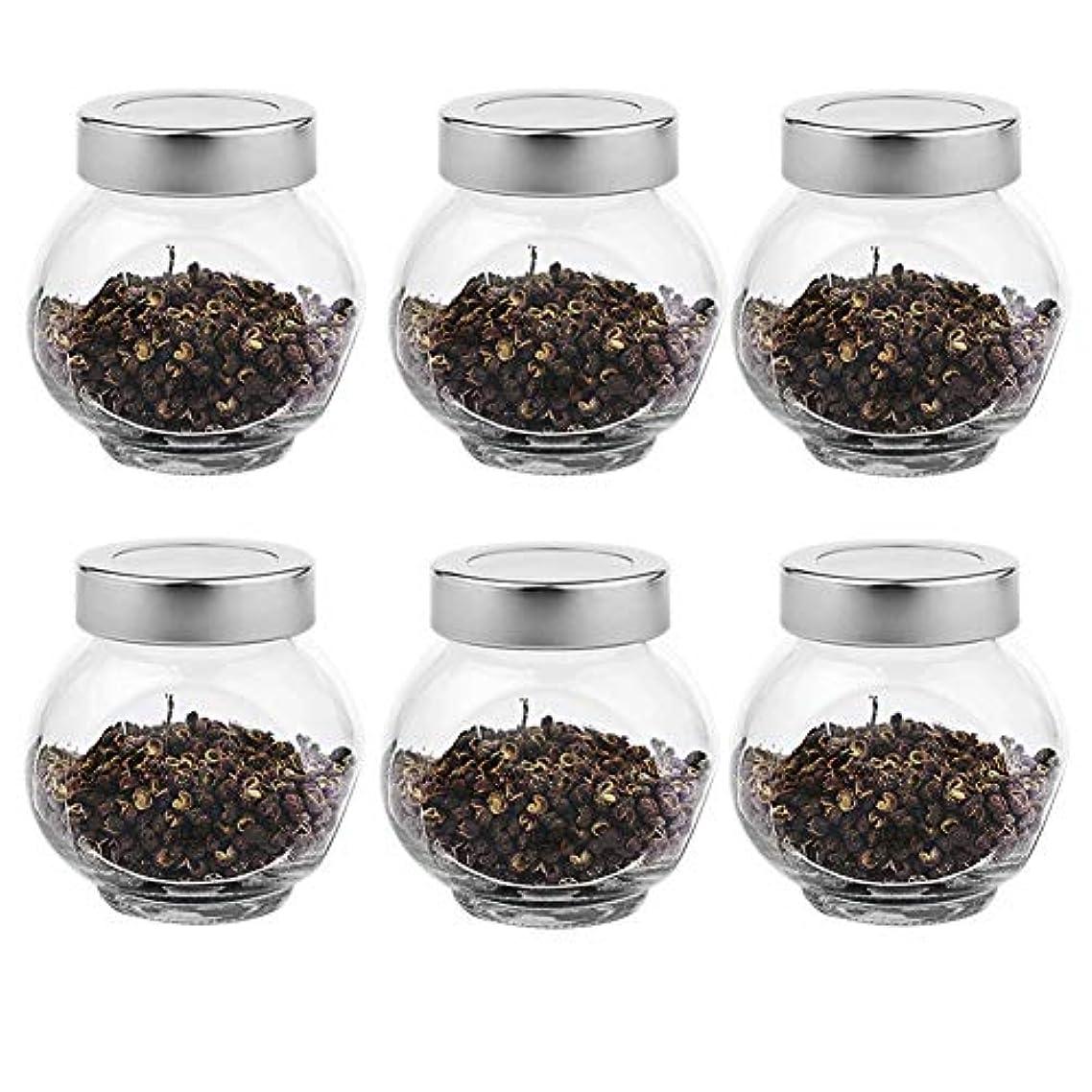 代表輝くオフ6つの透明ガラス貯蔵容器茶/季節密封缶(200 ml)の貯蔵ジャーパック