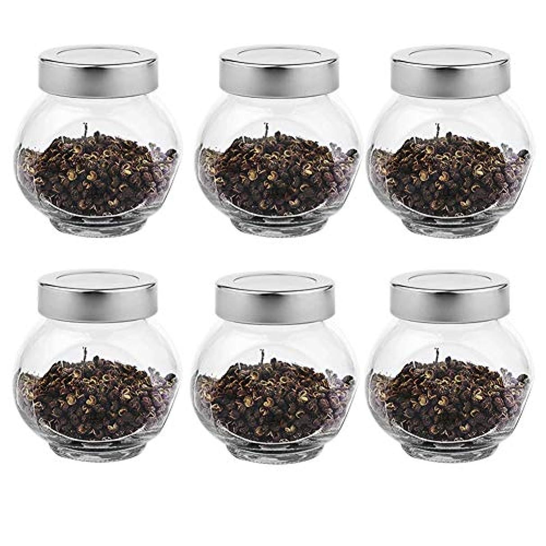 数値通知セイはさておき6つの透明ガラス貯蔵容器茶/季節密封缶(200 ml)の貯蔵ジャーパック