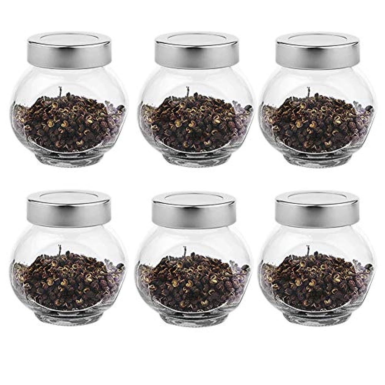 ディベート予想するパントリー6つの透明ガラス貯蔵容器茶/季節密封缶(200 ml)の貯蔵ジャーパック