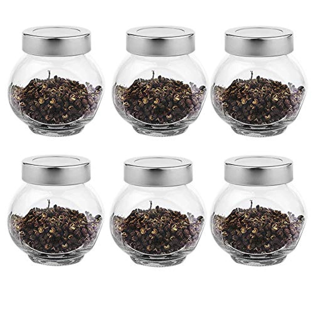 ヒューマニスティック怖い倫理6つの透明ガラス貯蔵容器茶/季節密封缶(200 ml)の貯蔵ジャーパック