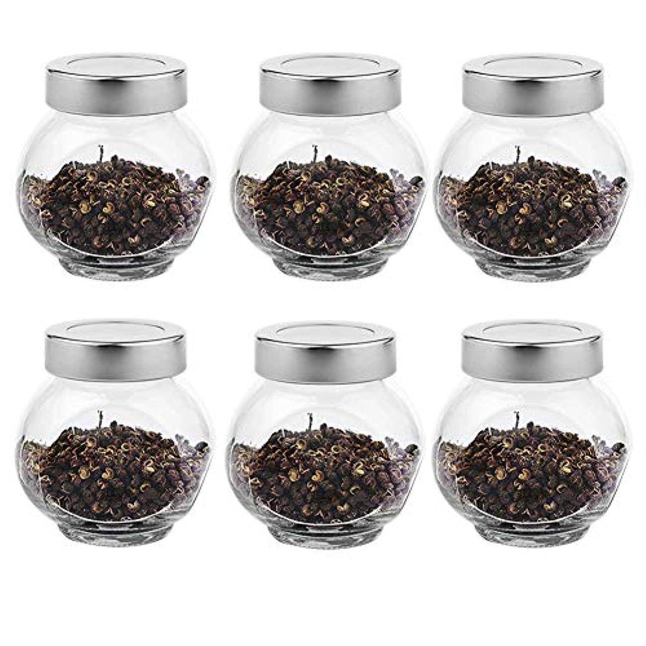 ささやきだます虫6つの透明ガラス貯蔵容器茶/季節密封缶(200 ml)の貯蔵ジャーパック