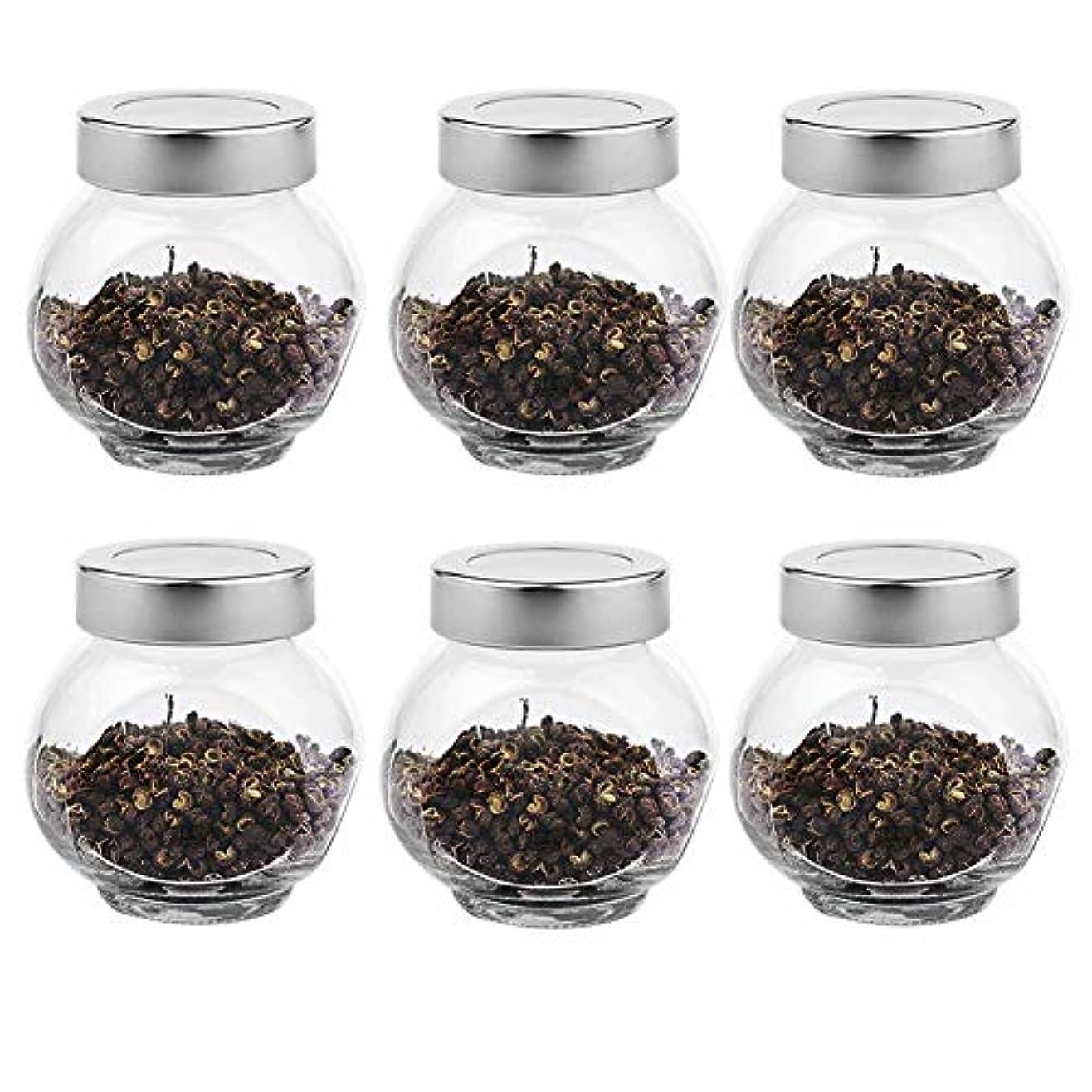 延ばす合併症バン6つの透明ガラス貯蔵容器茶/季節密封缶(200 ml)の貯蔵ジャーパック