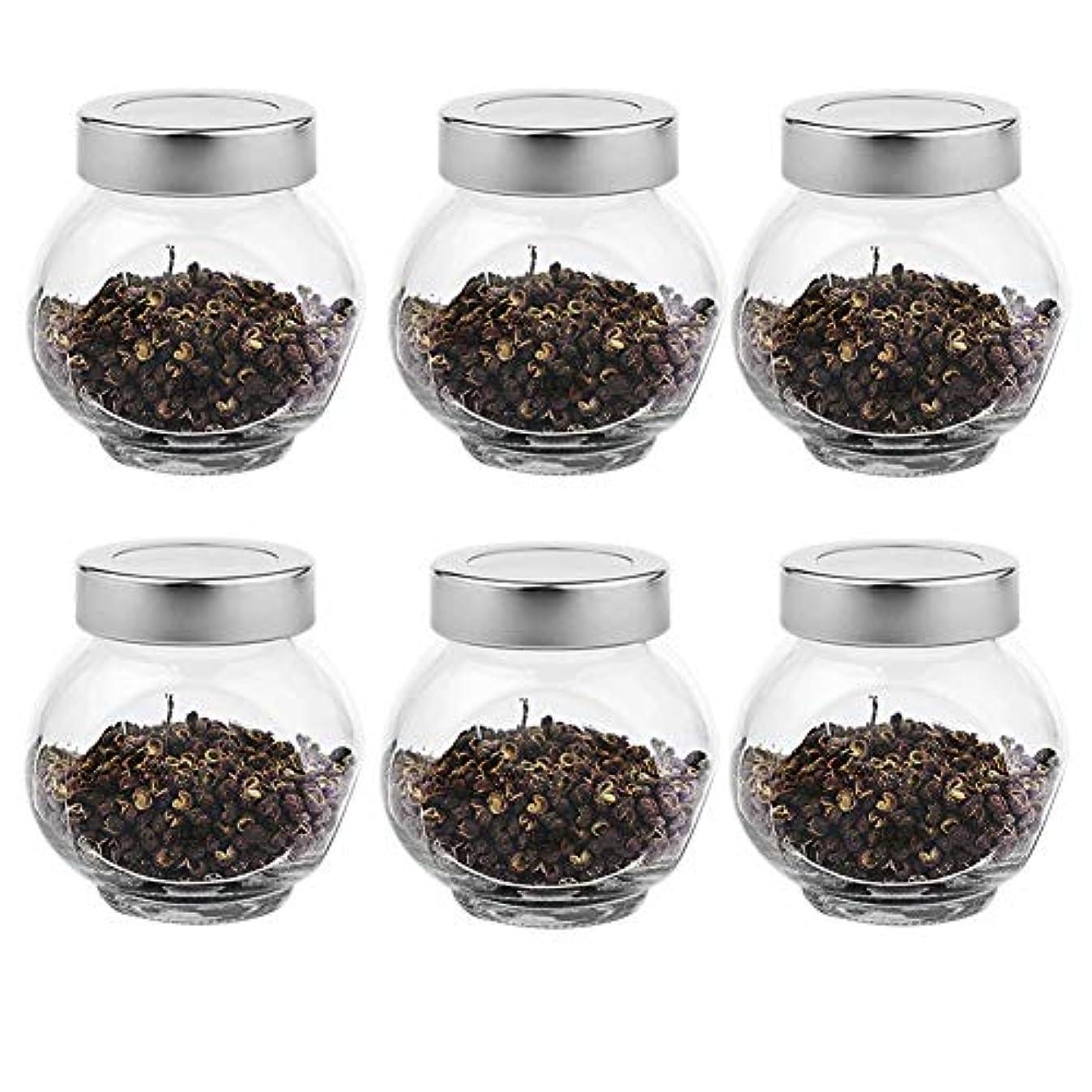 クラシック余剰ブランド名6つの透明ガラス貯蔵容器茶/季節密封缶(200 ml)の貯蔵ジャーパック