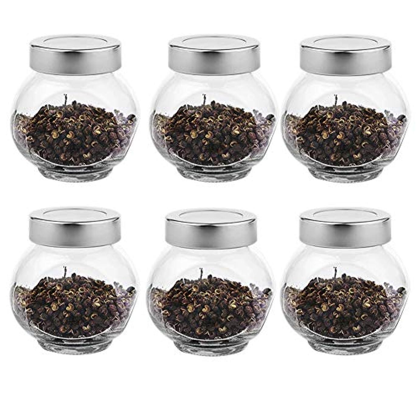 レビュー倒錯ゴールド6つの透明ガラス貯蔵容器茶/季節密封缶(200 ml)の貯蔵ジャーパック