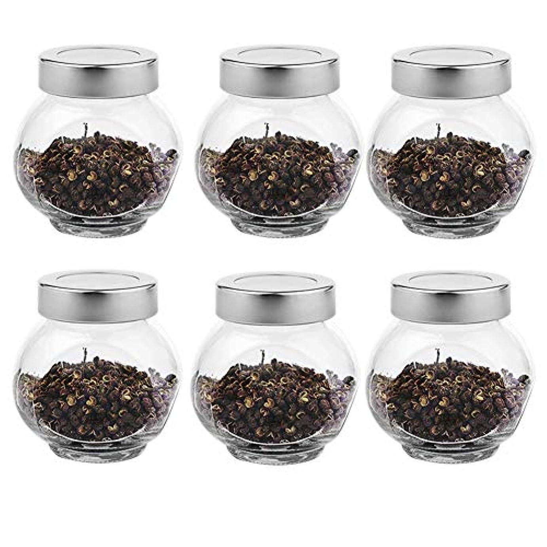 明らかに自治的区別する6つの透明ガラス貯蔵容器茶/季節密封缶(200 ml)の貯蔵ジャーパック