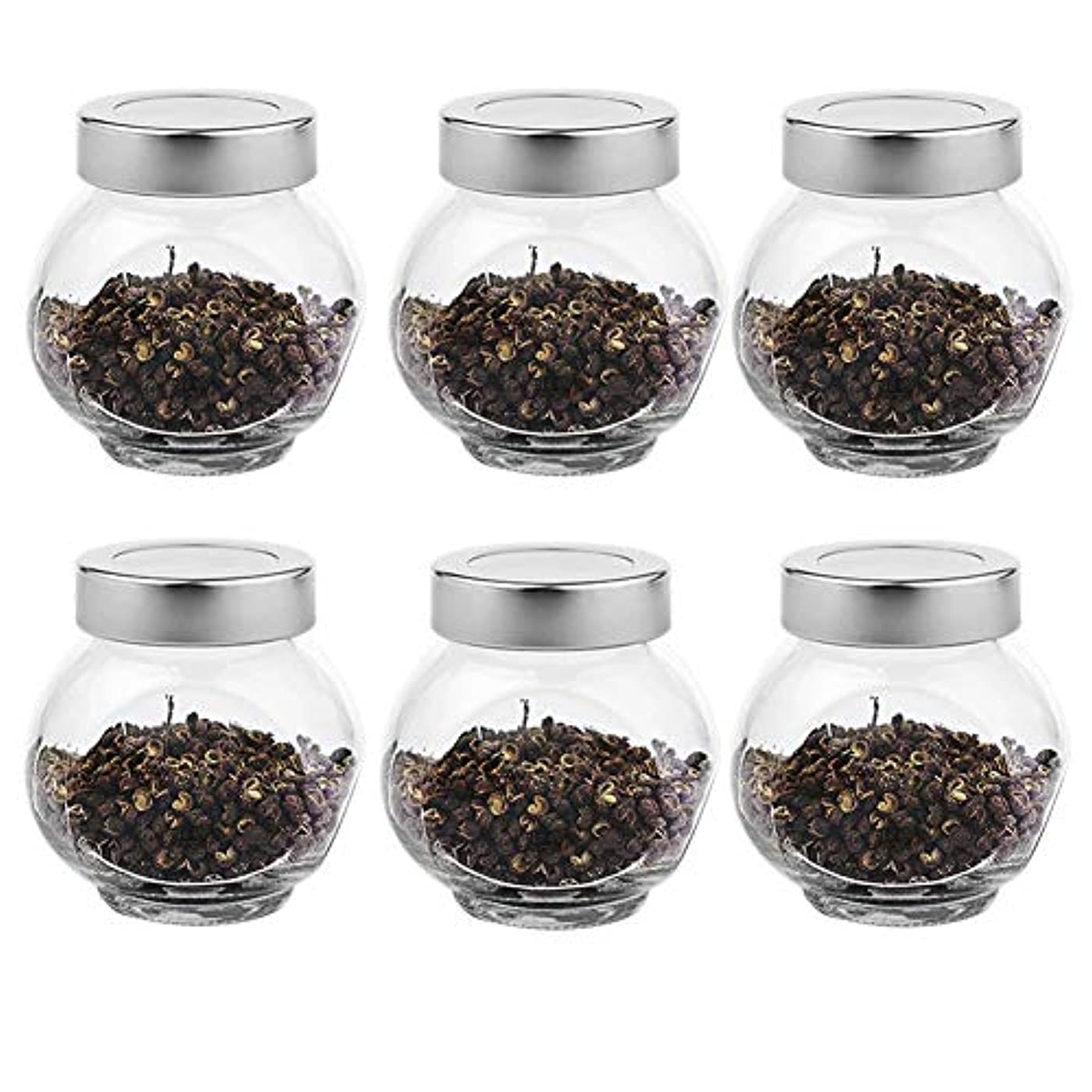 無力似ている小包6つの透明ガラス貯蔵容器茶/季節密封缶(200 ml)の貯蔵ジャーパック