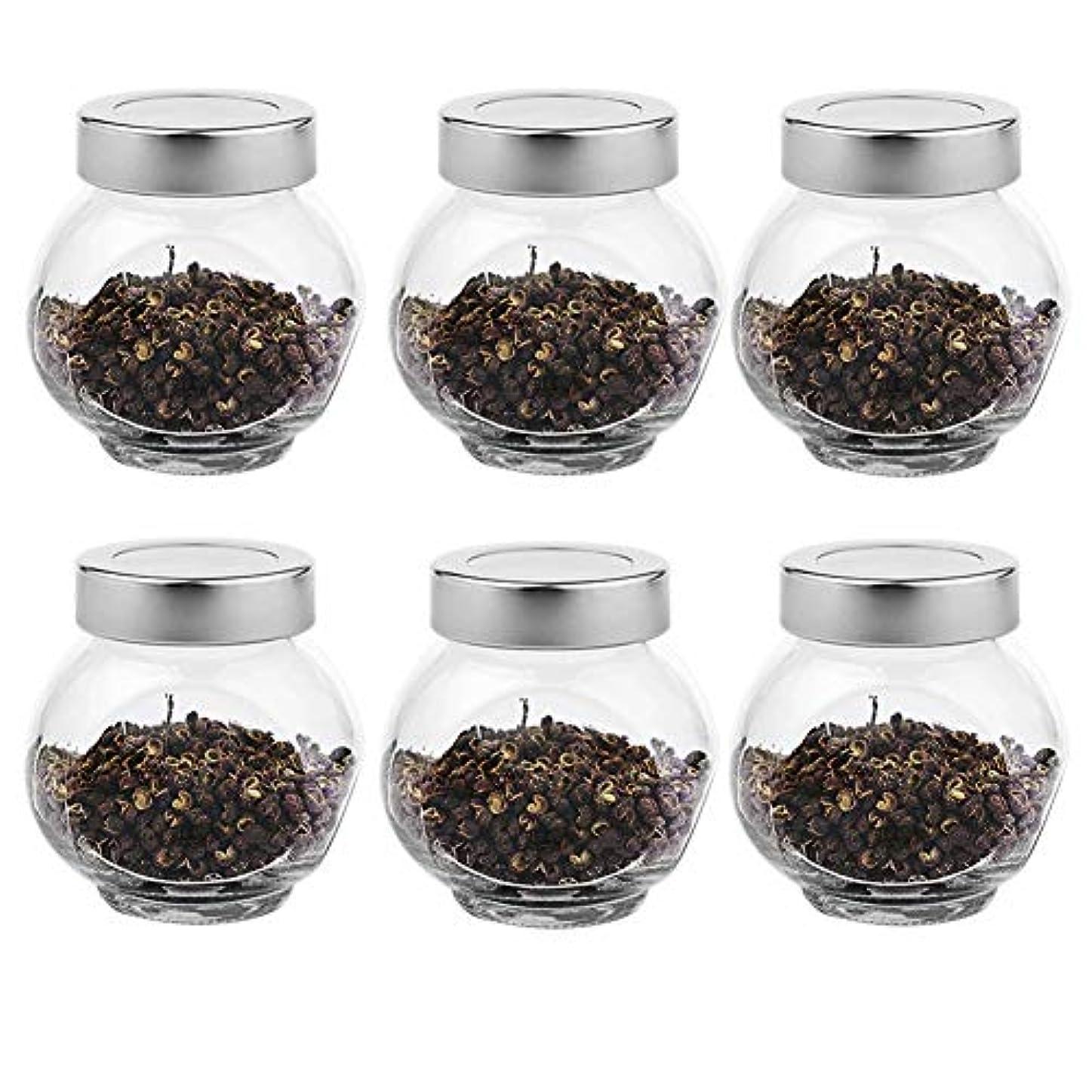 スーパーウィスキー誤6つの透明ガラス貯蔵容器茶/季節密封缶(200 ml)の貯蔵ジャーパック