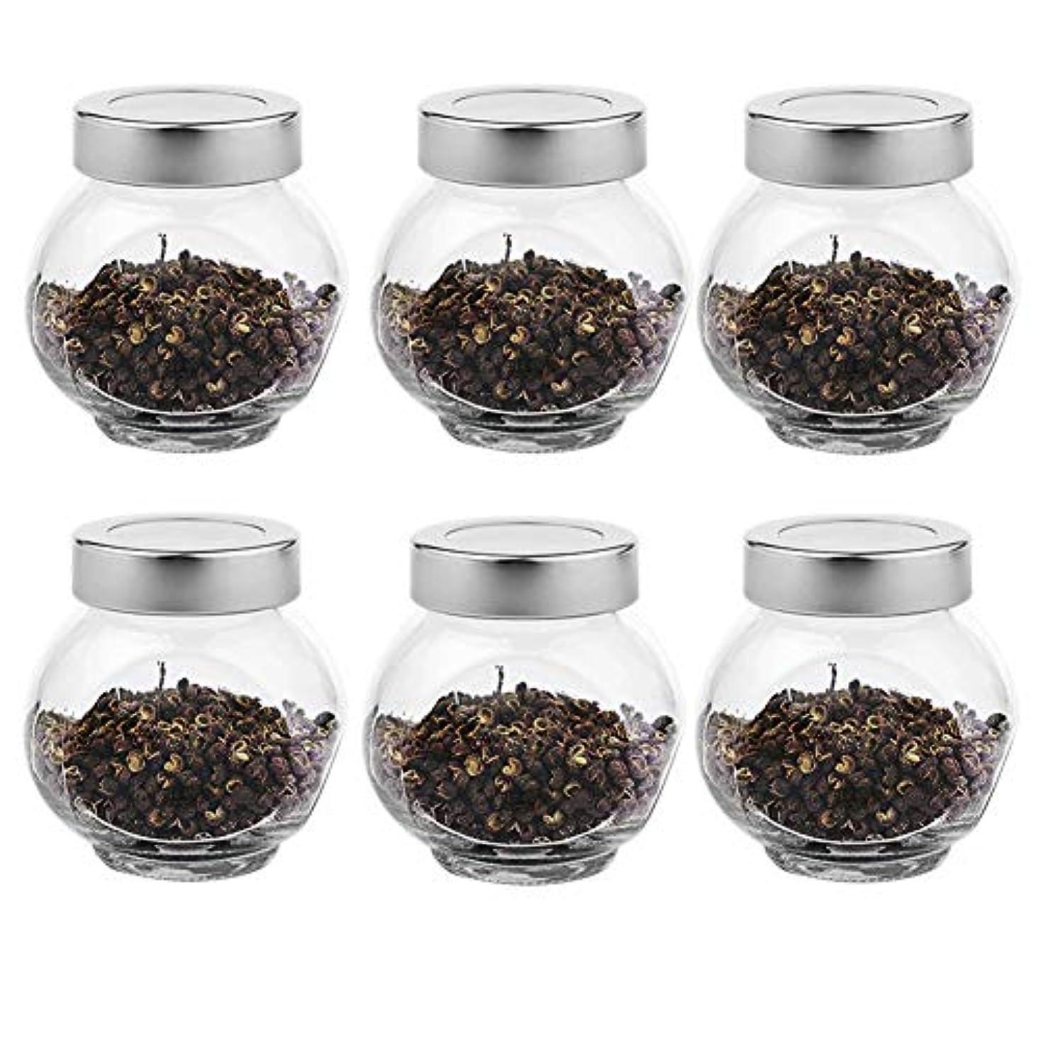話をする不機嫌そうなキャリッジ6つの透明ガラス貯蔵容器茶/季節密封缶(200 ml)の貯蔵ジャーパック