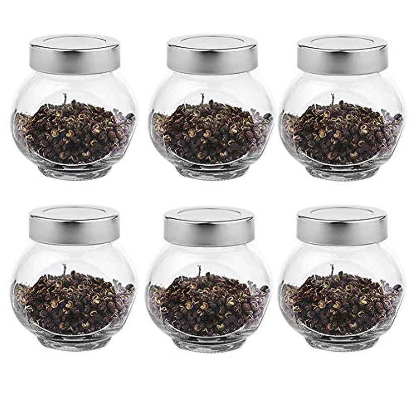 同様に裏切り者エキサイティング6つの透明ガラス貯蔵容器茶/季節密封缶(200 ml)の貯蔵ジャーパック