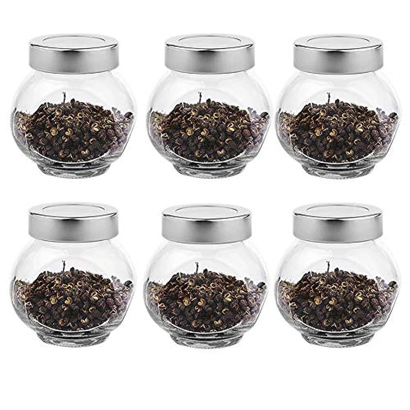 雑草離婚競合他社選手6つの透明ガラス貯蔵容器茶/季節密封缶(200 ml)の貯蔵ジャーパック