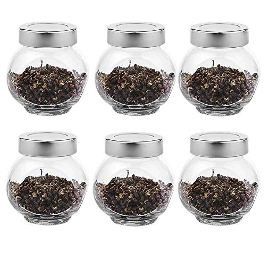 基準病者広々とした6つの透明ガラス貯蔵容器茶/季節密封缶(200 ml)の貯蔵ジャーパック