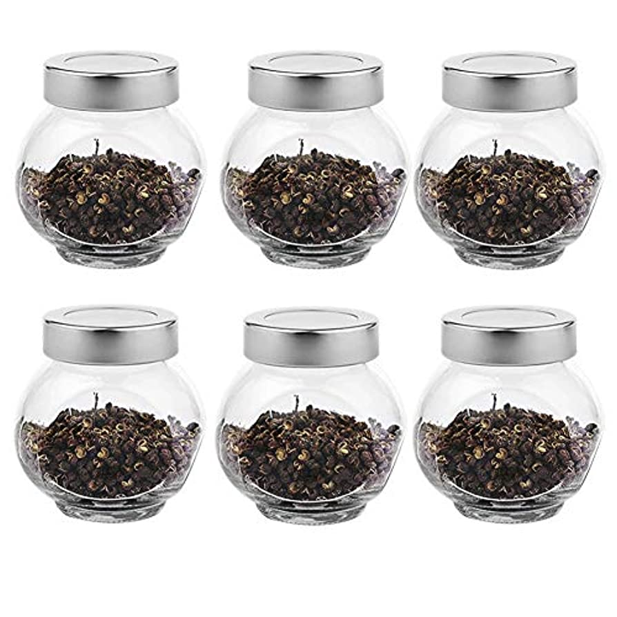 6つの透明ガラス貯蔵容器茶/季節密封缶(200 ml)の貯蔵ジャーパック