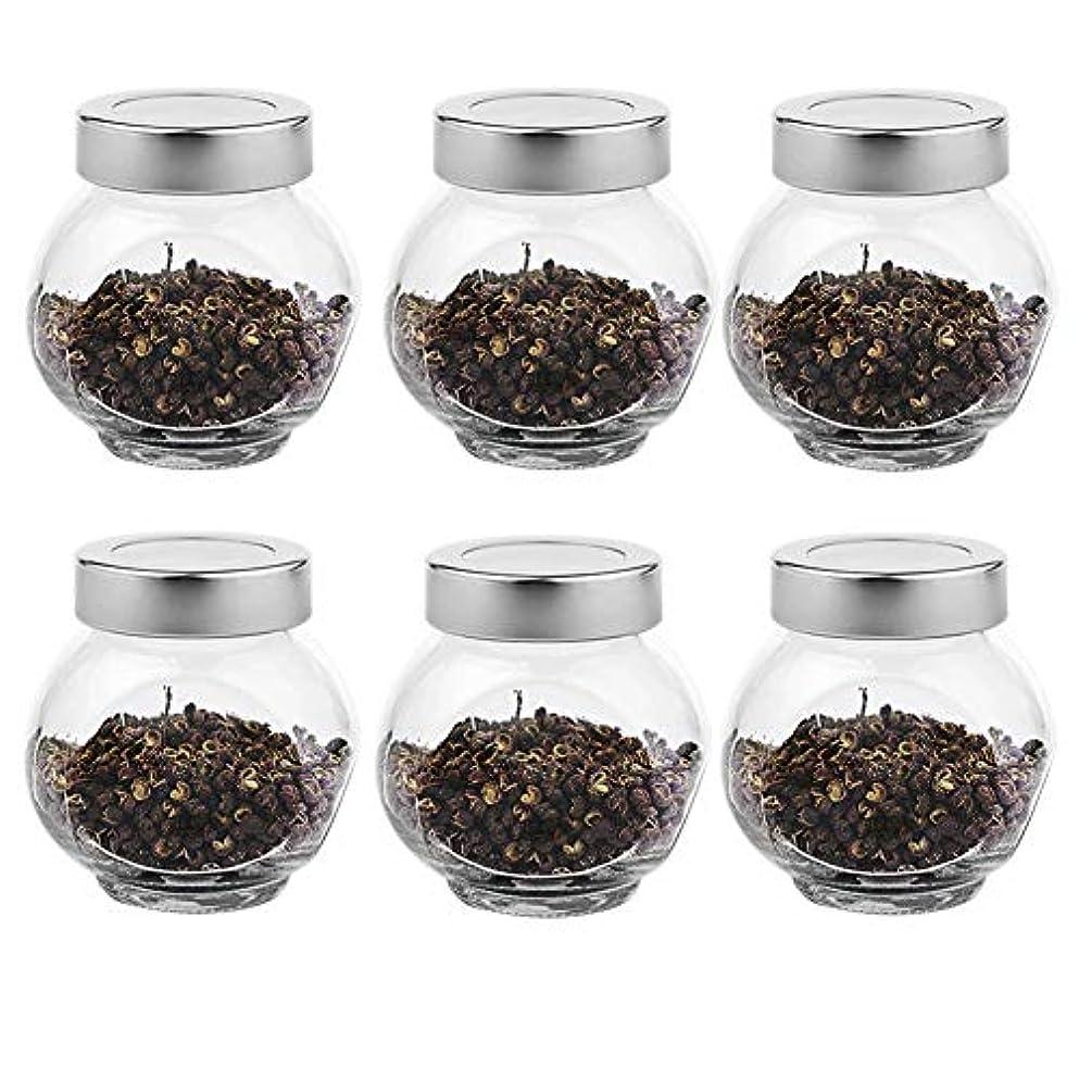 吐き出す裏切り者不名誉6つの透明ガラス貯蔵容器茶/季節密封缶(200 ml)の貯蔵ジャーパック
