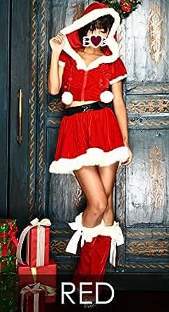 長袖 サンタ衣装 コスチューム レッド レディース