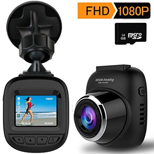 超小型ドライブレコーダー 16Gカード付き ドラレコ ダッシュカメラ 車載カメラ 1080P フルHD 1200万画素 1.5インチ 140度広角 hd録画レコーダー Gセンサー付き WDR 常時録画 駐車監視 動き検知