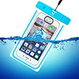 Wolfeye 指紋認証可 防水携帯ケース 高感度PVC IPX8 夜間発光 アウトドア 温泉 釣り お風呂 水泳 砂浜等最適な防水袋 スマホケース・カバー 防水国際保護等級:IPX8認定獲得 iPhone 6 Plus/ Samsung Galaxy/Nexus/Sonyなど全機種対応 スマートフォン用防水 防塵ケース (ブルー)