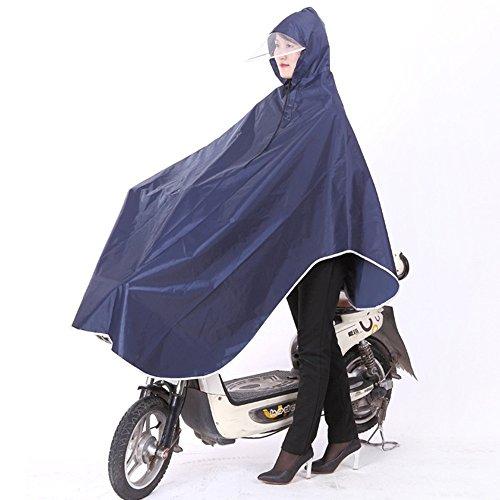 SyuuYou 自転車レインコート ポンチョ レイン ポンチョ型 大きいツバ 厚手生地 雨具 男女兼用 フリーサイズ (ブルー)