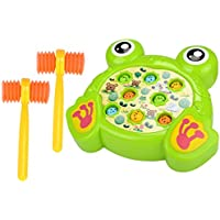 (Free, Green) - Haoun Colourful Electronic Whac-A-Mole Game Toy with Music Kid Best Toy Christmas Birthday Gift - Frog