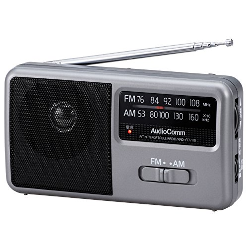 AudioComm AM/FM ポータブルラジオ コンパクトサイズ スピーカー搭載 ワイドFM 補完放送対応_RAD-F1771M 07-9721
