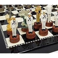 WW2 Pearl Harbor US vs Japan Chess Set W/ 15