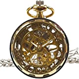 [モノジー] MONOZY アンティーク 手巻き 機械式 懐中時計 ギアケース 【選べる色】 両面 スケルトン 【収納袋、化粧箱】 レトロ 懐中時計