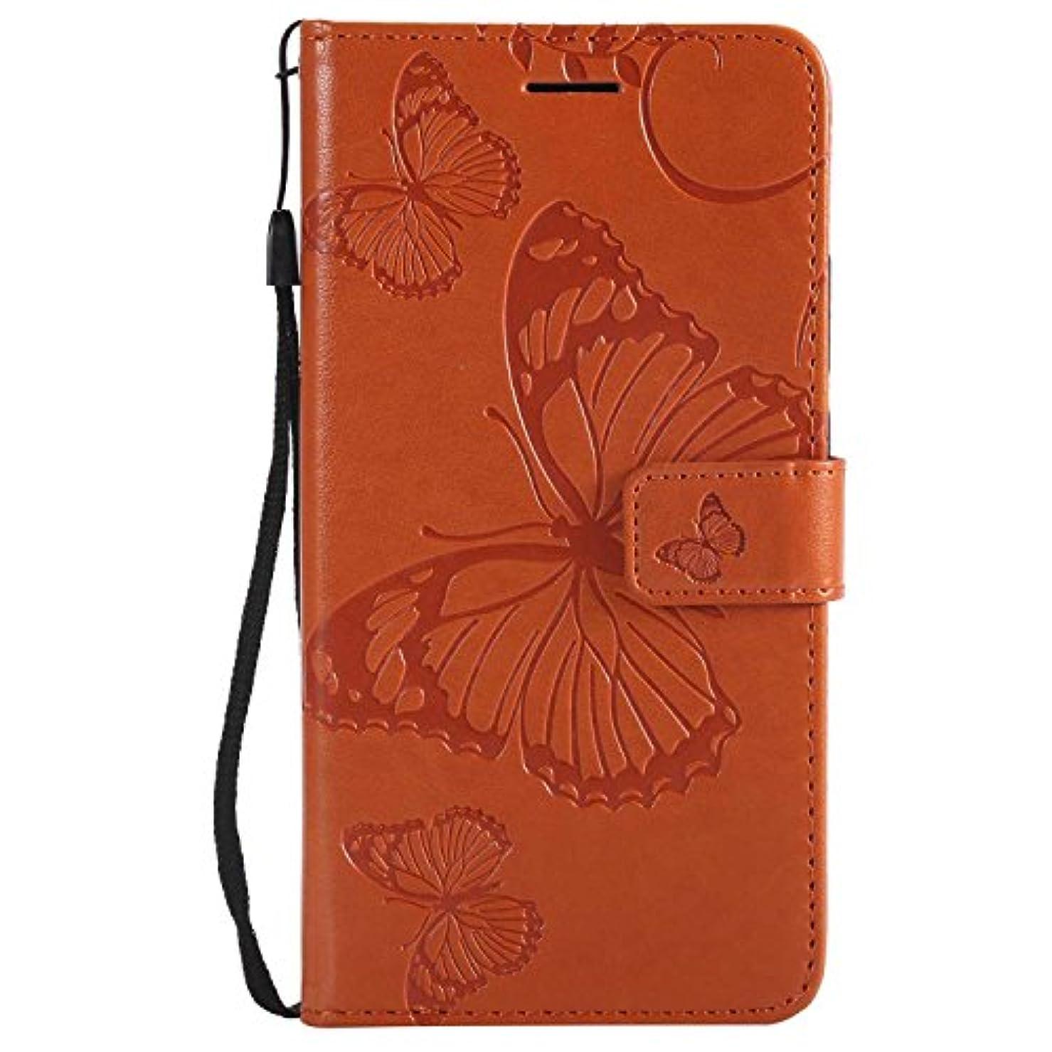 時代遅れ争う銀CUSKING Huawei Mate 10 ケース Huawei Mate 10 カバー ファーウェイ 手帳ケース カードポケット スタンド機能 蝶柄 スマホケース かわいい レザー 手帳 - オレンジ