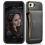 iphone7 ケース レザーケース 耐衝撃 カード収納 財布型 落下防止 TPU × PC 2重構造 カバー アイフォン7 ケース専用 4.7 インチ ブラック