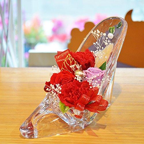 [florence du] プリザーブドフラワー バラ・カーネーションハイヒールアレンジメント レッド ガラスの靴 花 ギフト フラワーギフト 結婚 母の日 プレゼント 誕生日 シンデレラ プリンセス プロポーズ 祝い 記念日 ブリザードフラワー