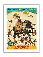 エア?インディア - インドについての空気がある - ハウガのマハラジャ(馬車)、リーガルのゾウ - ビンテージな航空会社のポスター c.1965 -プレミアム290gsmジークレーアートプリント - 46cm x 61cm