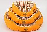 COM-SHOT 【 かわいい デザイン 】 ペット ベッド 四角形 ストライプ 模様 癒し おしゃれ インテリア 可愛い 【 Mサイズ 】 【 オレンジ 】 MI-LWF-2008-M-OR
