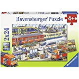 Ravensburger Busy Train Station Puzzle 2x24pc,Children's Puzzles