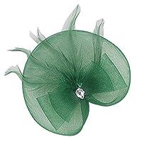 Blesiya 結婚式 教会 アクセサリー 人工フェザー クリップ付き ヘッドドレス 髪のアクセサリー 全10色 - ダークグリーン