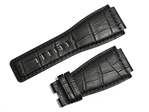 「ベル&ロス(Bell&Ross)向け」輸入王オリジナル BR01,BR03用 型押しクロコ ベルト 社外品 ブラック 24mm