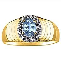 14Kホワイトゴールドダイヤモンド&ブルートパーズリング14K黄色または
