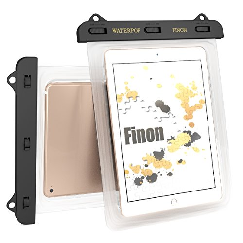 FINON7-10インチ対応 WATERPOF CASE/防水ケース防水ケース・専用ピック・ネックストラップ・キックスタンド付iPad Pro9.7/Air/Air2/iPad/2/3/4・iPad mini/2/3/4/Xperia Z4 Tablet/Z3 Tablet Compact/Amazon Fire7/Fire HD8/ASUS Pad/Google Nexus/AQUOS PAD/Huawei MediaPad/Docomo dtab 記載以外も対応