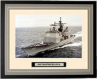 """海軍Emporium–USSフィリピン海cg-58–Framed–フォト–Engraved出荷名前–ダブルマット–写真–16x 20–234cg58 20""""W x 16""""H グレー 150234000004"""