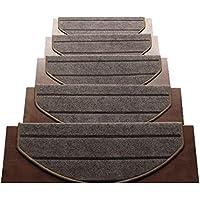EALLIFE 階段マット 滑りズレ防止 折り曲げ付 防音 滑り止め カフェ風 モダン調 (15枚入 (茶横縞)